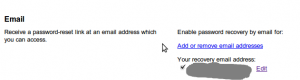 The Google account backup email address