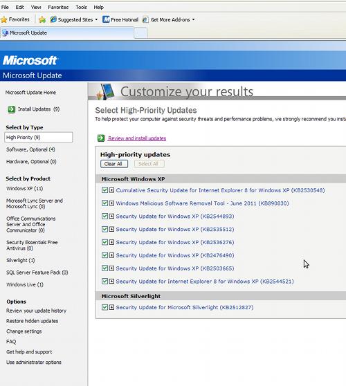 Microsoft Patch Tuesday screenshot