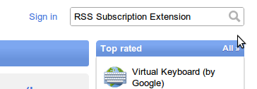 Type RSS Subscription Extension in the search box